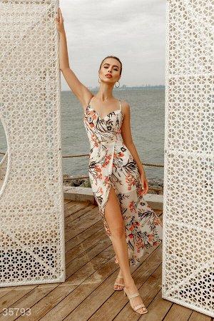 Шифоновое платье-макси с цветочным принтом