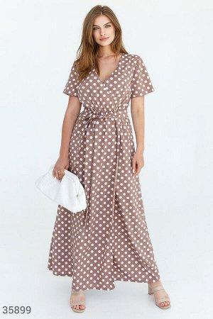 Женственное платье-макси в гороховый принт