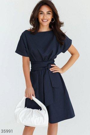 Универсальное платье-миди синего цвета