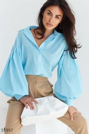 Голубая удлиненная рубашка свободного кроя
