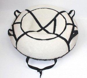 Надувные санки тюбинг/ватрушка Меховой Люкс Черный диаметр 110 см. Быстрик