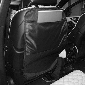Защита для спинки сиденья + Органайзер для автомобиля, 1 карман под замком, Черный