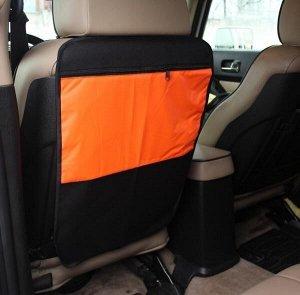Защита для спинки сиденья + Органайзер для автомобиля, 1 карман под замком, Оранжевый