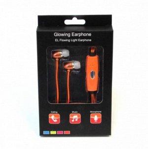 Светящиеся вакуумные металлические наушники Glow с оранжевым EL свечением пуля