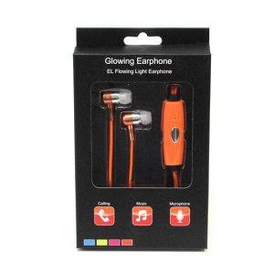 Светящиеся вакуумные металлические наушники Glow с оранжевым EL свечением гильза