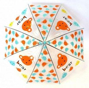 Зонт детский полуавтомат Прозрачный Мишка