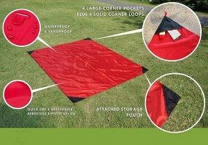Коврик для пляжа и пикника с карманами Beach Mat 2 местный 140x200 см. в чехле Красный