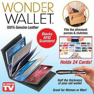 Кошелек-визитница Wonder Wallet черная кожа