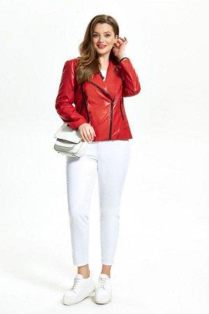 Куртка Куртка TEZA 948 красный  Состав ткани: Вискоза-10%; ПЭ-90%;  Рост: 164 см.  Модная кожаная куртка-косуха. Пиджачный воротник, небольшие кокетки и подрез по переду. Застежка на молнию, прорезны