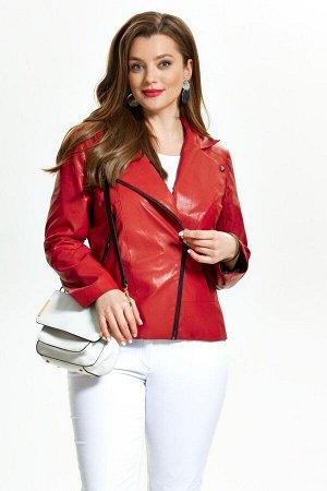 Куртка Куртка TEZA 948 красный  Состав: Вискоза-10%; ПЭ-90%; Сезон: Весна Рост: 164  Модная кожаная куртка-косуха. Пиджачный воротник, небольшие кокетки и подрез по переду. Застежка на молнию, прорез