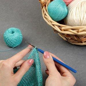 Крючок для вязания, с пластиковой ручкой, d = 0,75 мм, 13,5 см, цвет синий