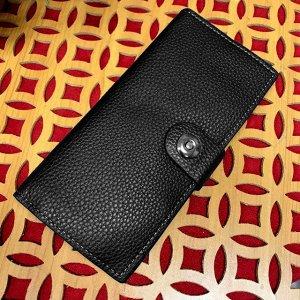 Вертикальное мужское портмоне Menz из прочной эко-кожи черного цвета.