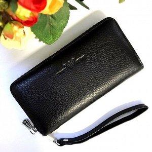 Стильный полноразмерный кошелек унисекс A_ny из натуральной кожи чёрного цвета.