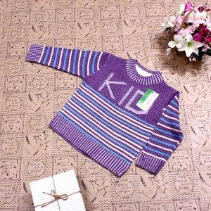 Рост 106-114. Стильная детская кофта Solser цвета фиолетовой пудры с белыми переходами.