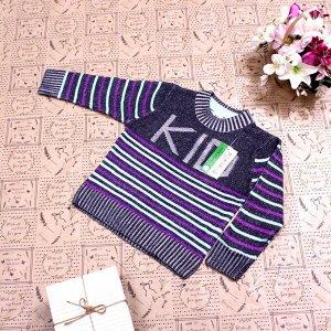 Рост 132-140. Стильная детская кофта Solser темно-графитового цвета с белыми переходами.