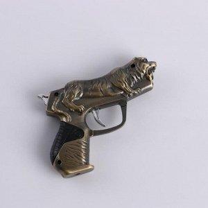 """Зажигалка газовая """"Пистолет с тигром"""", 7х10 см"""