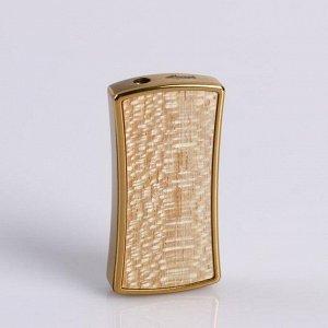 Зажигалка газовая, с вогнутыми боками, декоративная вставка, микс, 3х6.5 см