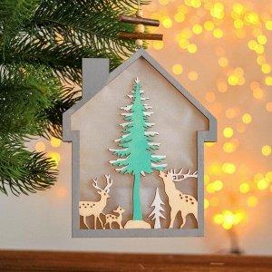 Новогодний декор с подсветкой «Домик» 2АА, 2х15х18,3 см