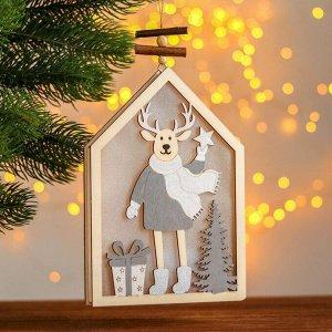 Новогодний декор с подсветкой «Домик с оленем» 2АА, 2х13,8х20 см