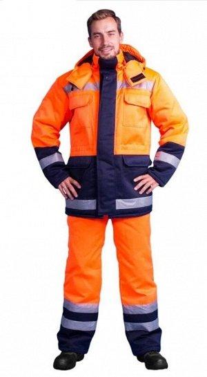"""Костюм мужской """"Дорожник сигнальный"""" зимний, куртка+п/к, оранжевый/т.синий с СОП, тк.смесовая"""