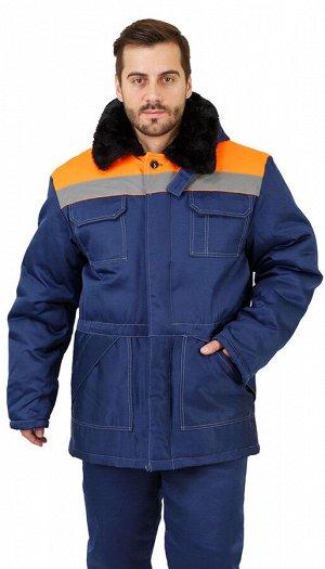 """Костюм мужской рабочий """"Легенда"""" зимний куртка, брюки т-синий с оранжевым и СОП"""
