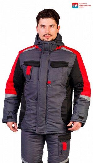 """Костюм мужской рабочий """"Мега"""" зимний куртка, п/к серый с черным, красным и СОП"""