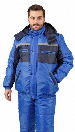 """Костюм мужской рабочий """"Рейс-Стим"""" зимний куртка, п/к васильковый с т-синим и СОП 25мм."""