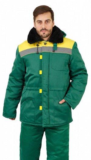 """Куртка мужская рабочая """"Патриот"""" зимняя с мех. воротником т-зелёная с желтым тк. Смесовая"""