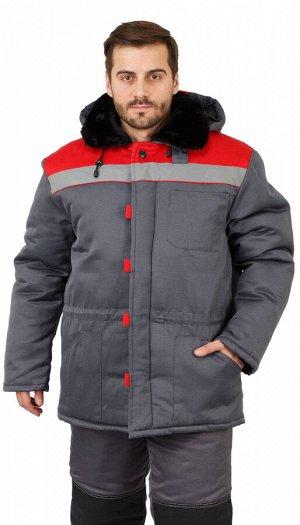 """Куртка мужская рабочая """"Патриот"""" зимняя с мех. воротником т-серая с красным тк. Смесовая"""