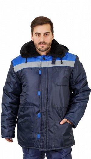 """Куртка мужская рабочая """"Патриот"""" зимняя с мех. воротником т-синяя с васильковым тк.Оксфорд"""