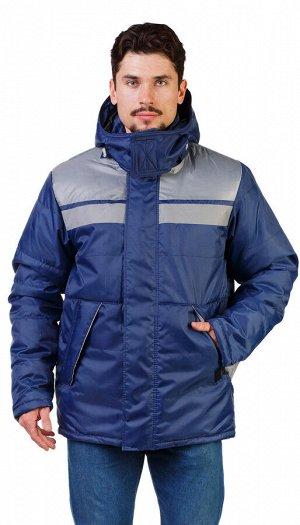 """Куртка мужская рабочая """"Рейс1"""" зимняя т-синяя с серым"""