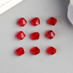 Бусины стеклянные (набор 30 шт), 6х6 мм  красные