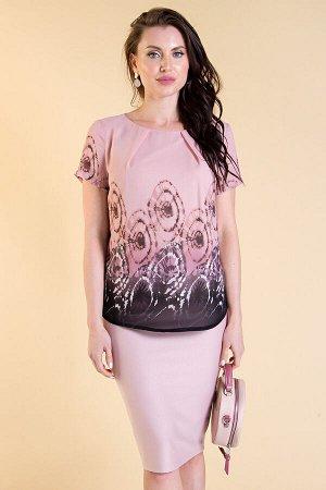 Блуза шифоновая (розовая, абстракция круги) Б1530-1