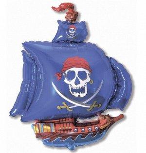 Фольга шар Пиратский корабль синий