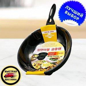 Сковорода Ecoramic 30 см вок с мраморным антипригарным покрытием без крышки
