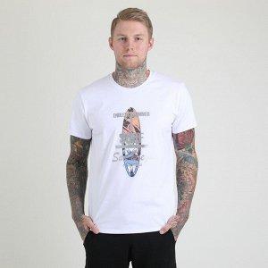 """Топ Белый Свободная мужская футболка с круглым вырезом горловины (принт """"Surf""""). Материал: Cotton(light) - материал из натуральных волокон, который удобен в носке, быстро впитывает и отводит от тела в"""
