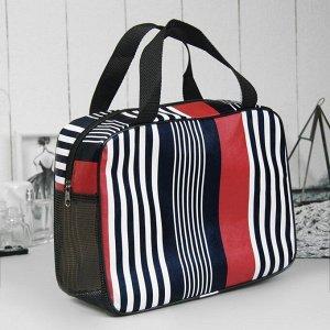 """Косметичка-сумочка """"Полоски"""", отдел на молнии, ручки, цвет красный"""