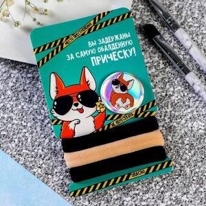 Набор: резинки и значок «Шериф Пупсик», 6 х 9,8 см
