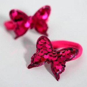 """Набор резинок ВИНКС """"Бабочки"""" с пайетками, 2 штуки, 6х5 см"""