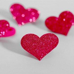 """Набор резинок, Маша и Медведь """"Сердца"""" розовые с блестками, 4 шт, 6х5 см"""