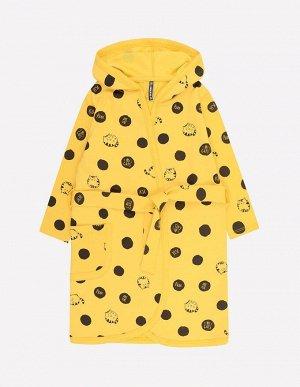 Халат для девочки Crockid К 5483 горошки-котята на желтом