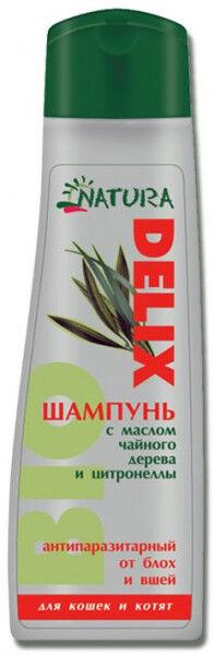 Natura Delix Bio шампунь антипаразитарный с маслом чайного дерева и цитронеллы для кошек и котят 250мл