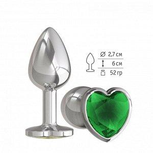 Небольшая анальная пробка с изумрудным кристаллом в виде сердца Джага