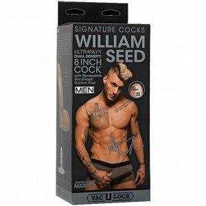 Фаллоимитатор необрезанный слепок порно-звезды William Seed Signature Cocks с мошонкой на съемной присоске
