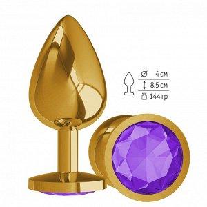 Большая золотая пробочка с фиолетовым круглым кристаллом
