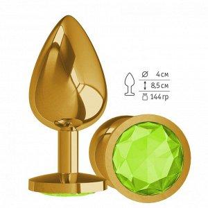 Большая золотая пробочка с лаймовым круглым кристаллом