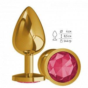 Большая золотая пробочка с малиновым круглым кристаллом