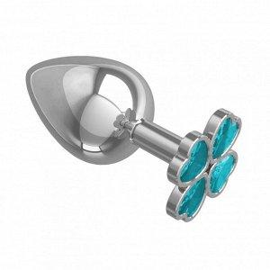 Большая пробочка с кристаллом в форме голубого четырехлистного клевера