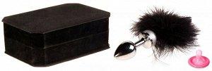 Малая металлическая серебряная пробка с черной опушкой Toyfa