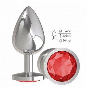 Большая серебряная пробочка с красным круглым кристаллом